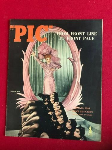"1944, Lucille Ball,  ""PIC""  Oversize Magazine, (No Label) Scarce / Vintage"