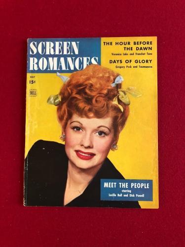 "1944, Lucille Ball, ""SCREEN ROMANCES"" Magazine (No Label) Scarce  (I Love Lucy)"