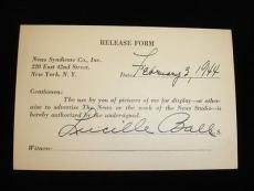 "1944 Lucille ""Lucy"" Ball Autographed Press Release Card"