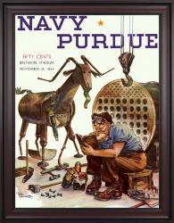 1944 Navy Midshipmen vs Purdue Boilermakers 36x48 Framed Canvas Historic Football Poster