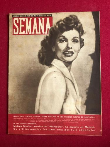 """1945, Lucille Ball """"SEMANA"""" Magazine, (Early Lucy) (Scarce / Vintage)"""