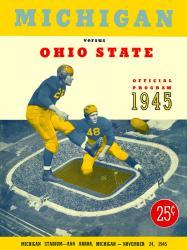 1945 Michigan Wolverines vs Ohio State Buckeyes 22x30 Canvas Historic Football Poster