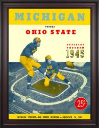 1945 Michigan Wolverines vs Ohio State Buckeyes 36x48 Framed Canvas Historic Football Poster