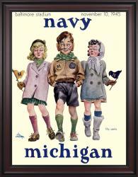 1945 Navy Midshipmen vs Michigan Wolverines 36x48 Framed Canvas Historic Football Poster