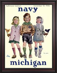 1945 Navy Midshipmen vs Michigan Wolverines 36x48 Framed Canvas Historic Football Poster