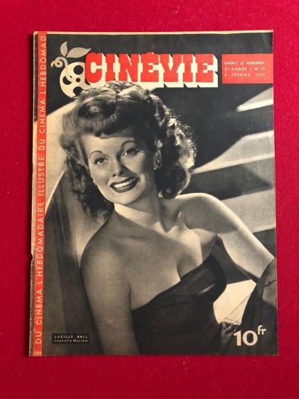 "1946, Lucille Ball, ""CINEVIE"" Oversize Magazine (Scarce) (I Love Lucy)"