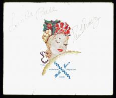 1946 Lucille Ball & Desi Arnez Signed 9x10.75 Copacabana Paper Frame PSA/DNA
