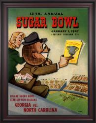 1947 Georgia Bulldogs vs North Carolina Tar Heels 36x48 Framed Canvas Historic Football Poster