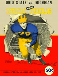 1947 Michigan Wolverines vs Ohio State Buckeyes 22x30 Canvas Historic Football Poster