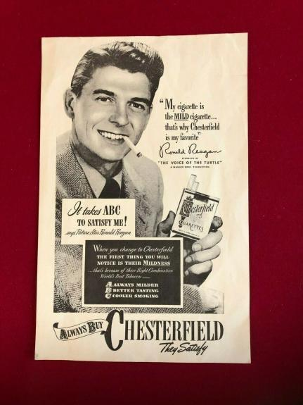 1947, Ronald Reagan, Large CHESTERFIELD Store Window Poster (Scarce / Vintage)