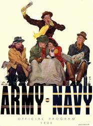 1948 Army Black Knights vs Navy Midshipmen 22x30 Canvas Historic Football Poster