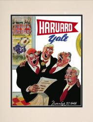 1948 Harvard Crimson vs Yale Bulldogs 10 1/2 x 14 Matted Historic Football Poster - Mounted Memories