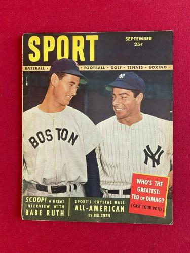 "1948, Ted Williams / Joe DiMaggio, ""SPORT"" Magazine (No Label) Scarce"