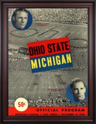 1949 Michigan Wolverines vs Ohio State Buckeyes 36x48 Framed Canvas Historic Football Poster