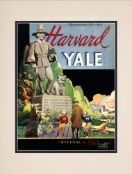 1949 Yale Bulldogs vs Harvard Crimson 10 1/2 x 14 Matted Historic Football Poster