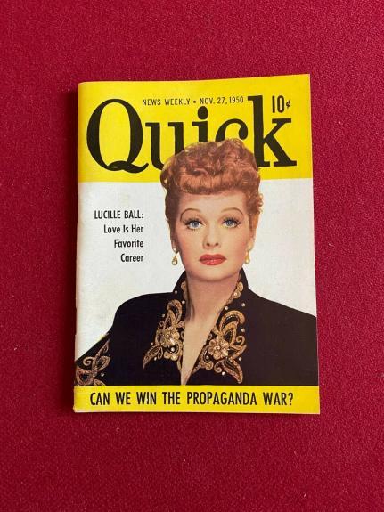 "1950, Lucille Ball, ""Quick"" Magazine (Scarce / Vintage)"