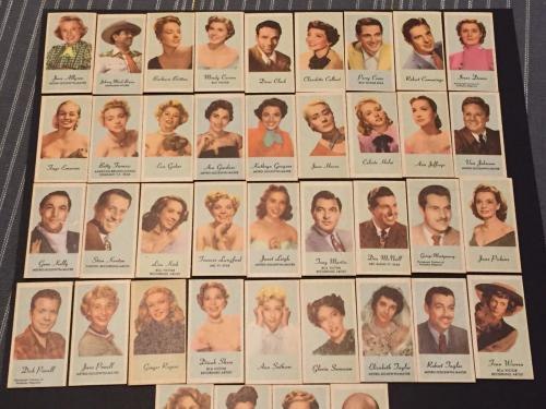 1950s Engrav-o-tints Peerless Rare Movie TV Star Complete 40 Card Set
