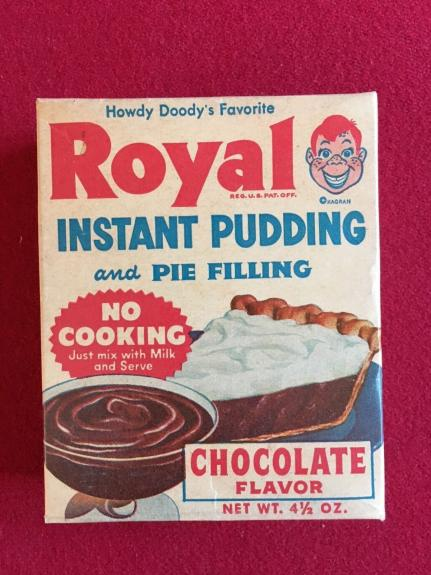 """1950's, Howdy Doody, """"Un-Opened"""" Royal Chocolate Pudding Box, (Scarce)"""