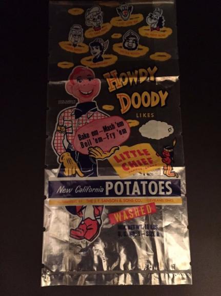 "1950's Howdy Doody, ""Un-Used"" ""New California Potatoes Bag"