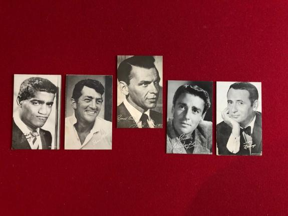 "1950's, ""The Rat Pack"" Exhibit Cards (Set of 5) Frank Sinatra (Scarce)"