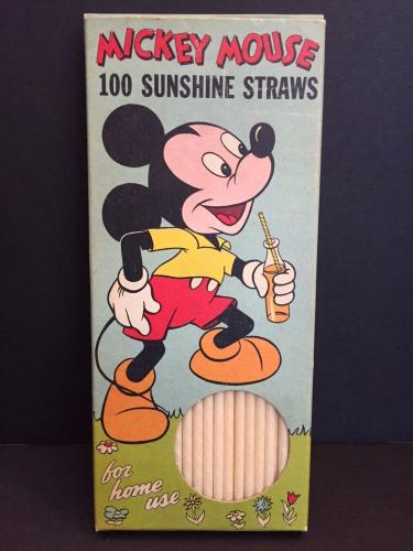 """1950's Walt Disney, """"Un-Opened"""" Mickey Mouse Paper Drinking Straws"""