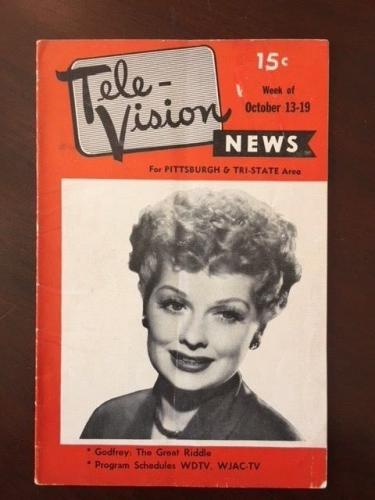 "1951, Lucille Ball (I Love Lucy), ""Tele-Vision"" Guide (No Label) - Rare"