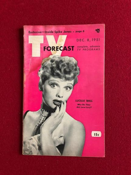 "1951, Lucille Ball ""TV FORECAST"" (No Label)  RARE  (I Love Lucy - 1st Season)"