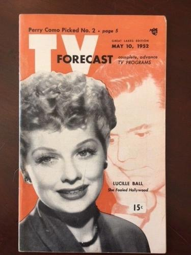 "1952, Lucille Ball (I Love Lucy), ""TV FORECAST"" Guide (No Label on Front)"