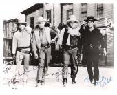 "1953-73 TV Series ""BONANZA"" Signed by DAN BLOCKER as HOSS, PERNELL ROBERTS as ADAM, LORNE GREENE as BEB, and MICHAEL LANDON as LITTLE JOE 10x8 B/W Photo (Passed Away Dan-1972, Pernell-2010, Lorne - 1987 & Michael - 1991)"