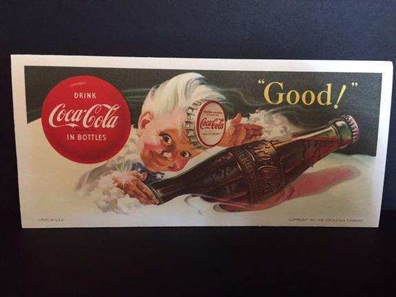 """1953, Coca-Cola, """"Un-Used"""" """"Sprite Boy Logo"""" Blotter (Scarce / Vintage)"""