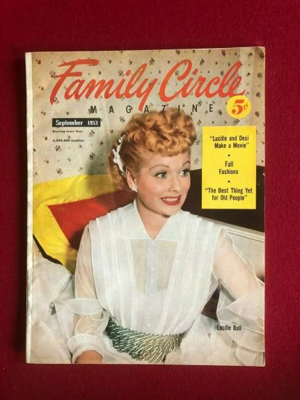 "1953, Lucille Ball, ""Family Circle"" Magazine (No Label)) (Scarce)  (I Love Lucy)"