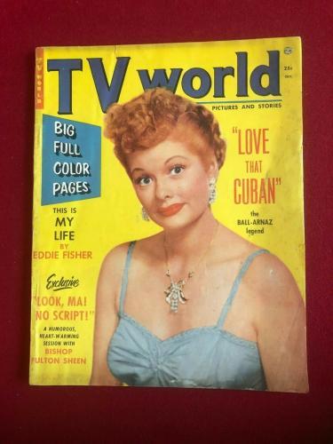 "1953, Lucille Ball, ""TV World""  Magazine (No Label) Scarce / Vintage"