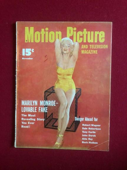 "1953, Marilyn Monroe, ""Motion Picture"" Magazine (No Label) Scarce / Vintage"