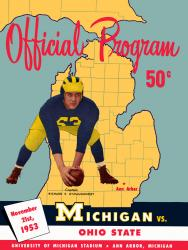 1953 Michigan Wolverines vs Ohio State Buckeyes 22x30 Canvas Historic Football Poster