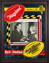 1954 Maryland Terrapins vs North Carolina State Wolfpack 36x48 Framed Canvas Historic Football Poster