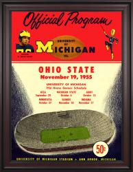 1955 Michigan Wolverines vs Ohio State Buckeyes 36x48 Framed Canvas Historic Football Poster