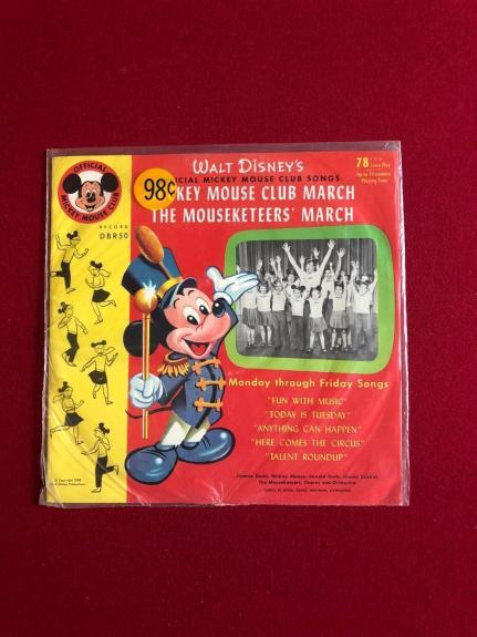 "1955, Walt Disney, ""Un-Opened"", Mickey Mouse Club (78) Record (Scarce)"