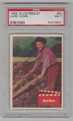 1956 Bubbles Elvis Presley Hard Work Card #50 Psa 7 Nm