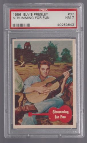 1956 Bubbles Inc Elvis Presley Strumming For Fun Card #37 Psa 7 Near Mint