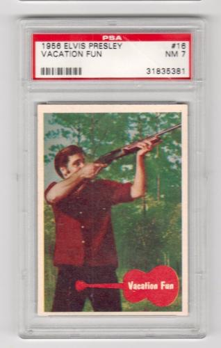 1956 Bubbles Inc Elvis Presley Vacation Fun Card #16 Psa 7 Near Mint Nm Cond