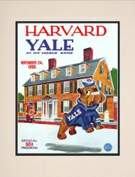 1956 Harvard Crimson vs Yale Bulldogs 10 1/2 x 14 Matted Historic Football Poster - Mounted Memories