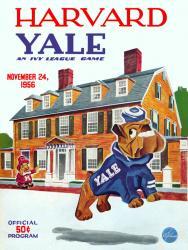 1956 Harvard Crimson vs Yale Bulldogs 22x30 Canvas Historic Football Poster