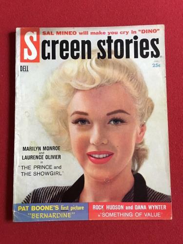 "1957, Marilyn Monroe, ""Screen Stories"" Magazine, (No Label) Scarce"