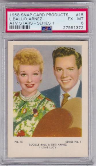 1958 Snap Cards Lucille Ball & Desi Arnez Card #15 Series 1 I Love Lucy Psa 6