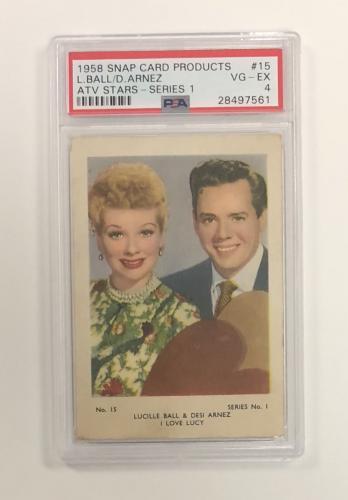 1958 Snap Lucille Ball Desi Arnez Atv Stars Card #15 Psa 4 Vg-ex Cond & Centered
