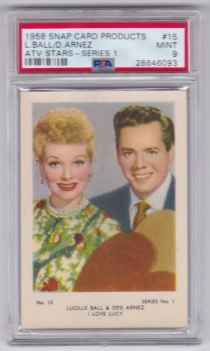 1958 Snap Lucille Ball & Desi Arnez Atv Stars Card #15 Psa 9 Mint Centered Pop 1