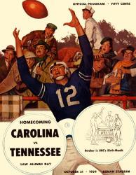 1959 North Carolina Tar Heels vs Tennessee Volunteers 22x30 Canvas Historic Football Poster