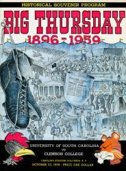 1959 South Carolina Gamecocks vs Clemson Tigers 22x30 Canvas Historic Football Poster