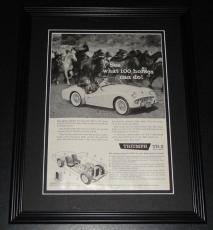 1959 Triumph TR-3 100 Horses 11x14 Framed ORIGINAL Vintage Advertisement Poster