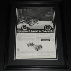 1959 Triumph TR-3 Homeward 11x14 Framed ORIGINAL Vintage Advertisement Poster
